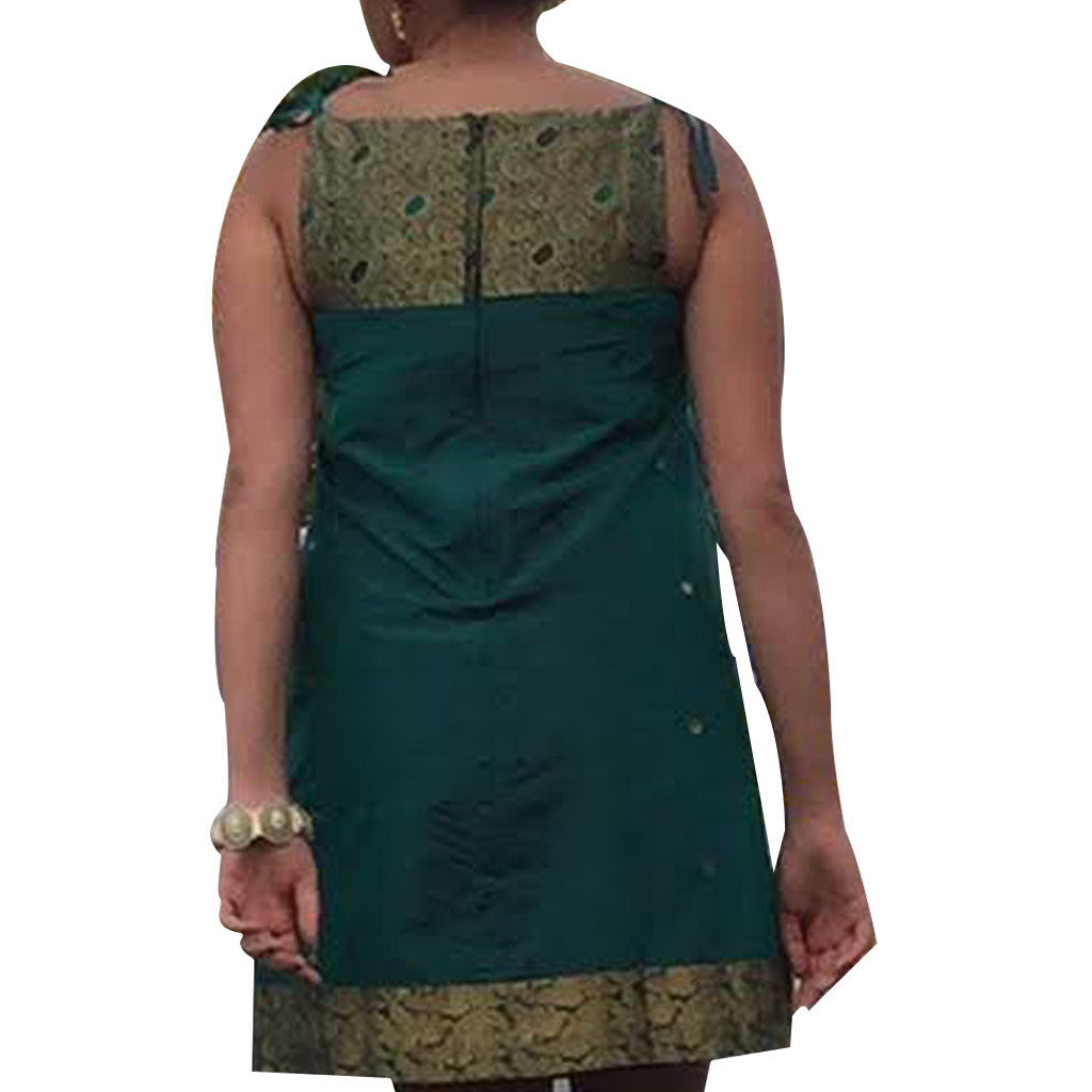 Forest Green Yoke Bridesmaids Upcycled Sari Dress - Shubrah