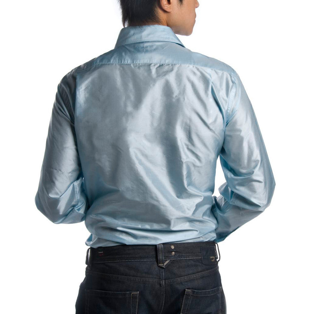 Indo-French Cuff Pale Blue Mens Silk Shirt - Shubrah