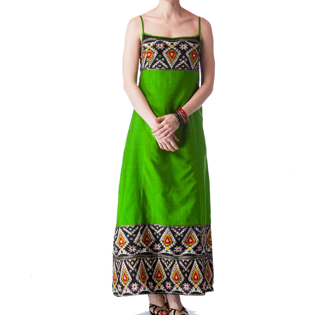Green Ikat Silk Batik Bridesmaids Dress - Shubrah