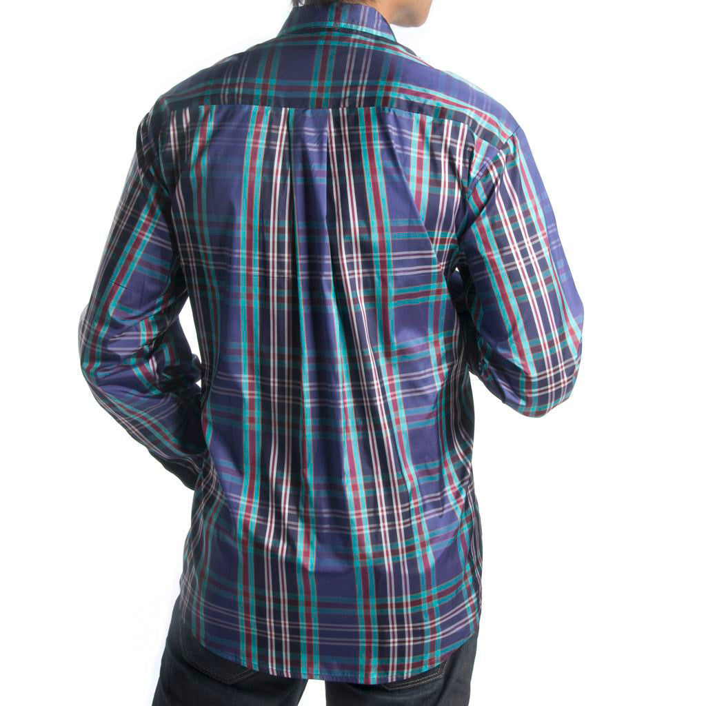 Himalaya Peacock Plaid Blue Silk Mens Shirt - Shubrah