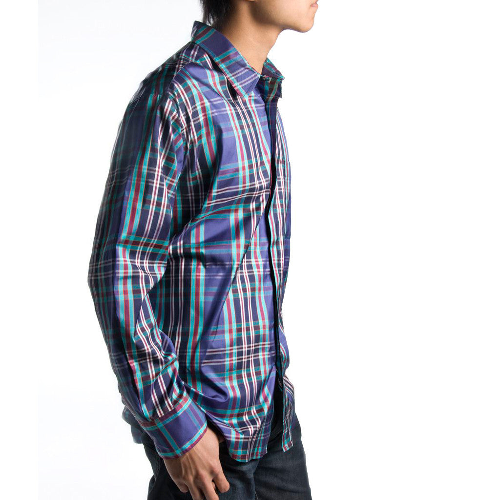 62342bdc20138a Himalaya Peacock Plaid Blue Silk Mens Shirt front ...