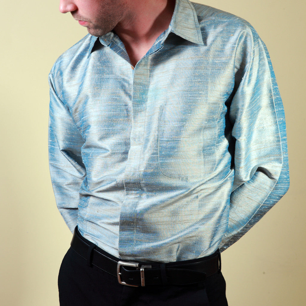 Indian Ocean Blue Striped Mens Silk Shirt - Shubrah