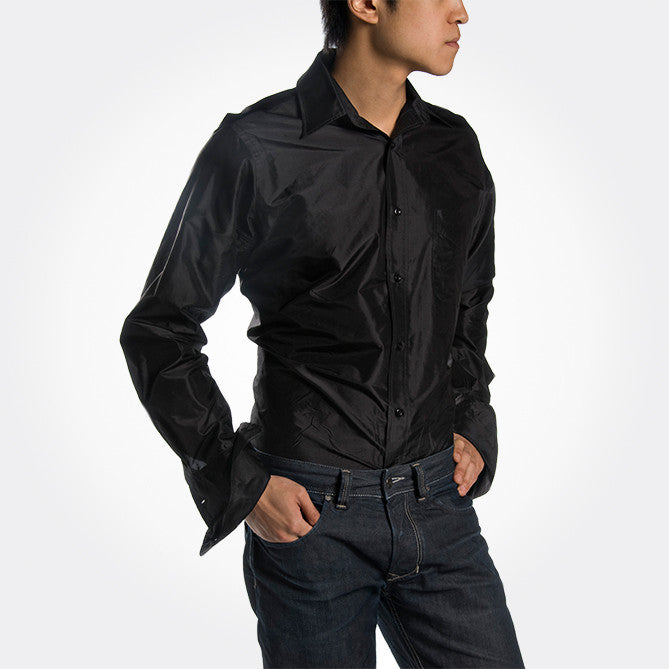 Indo-French Cuff Black Silk Mens Shirt - Shubrah