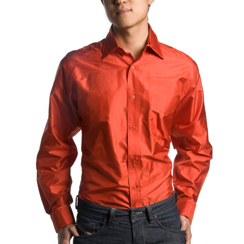 Indo French Cuff Red Mens Silk Shirt - Shubrah