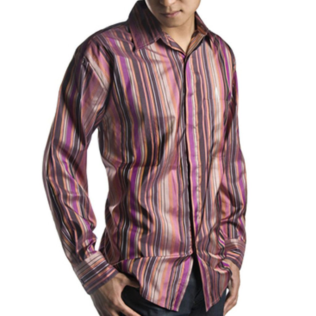 Jamun Purple Striped Mens Silk Shirt - Shubrah