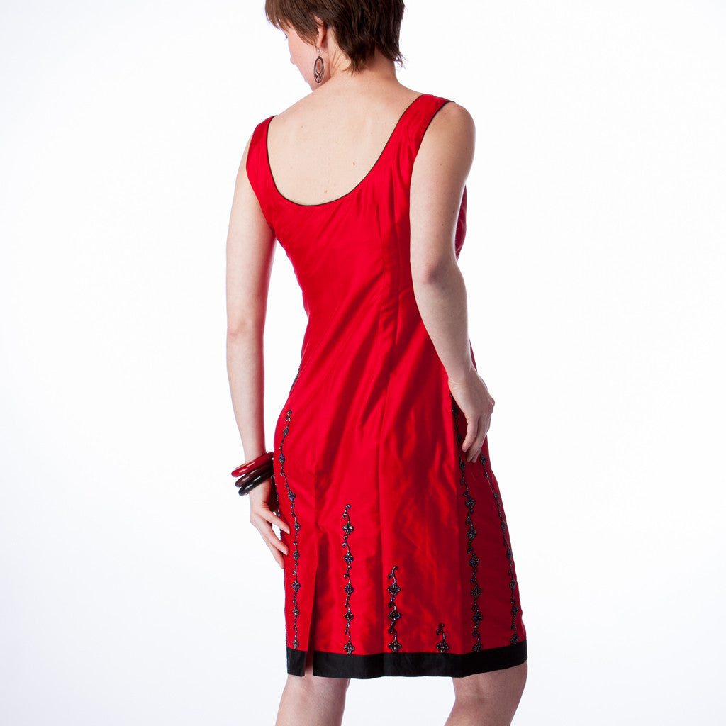 Jet Set Red Silk with Black Beading Bridesmaids Dress - Shubrah