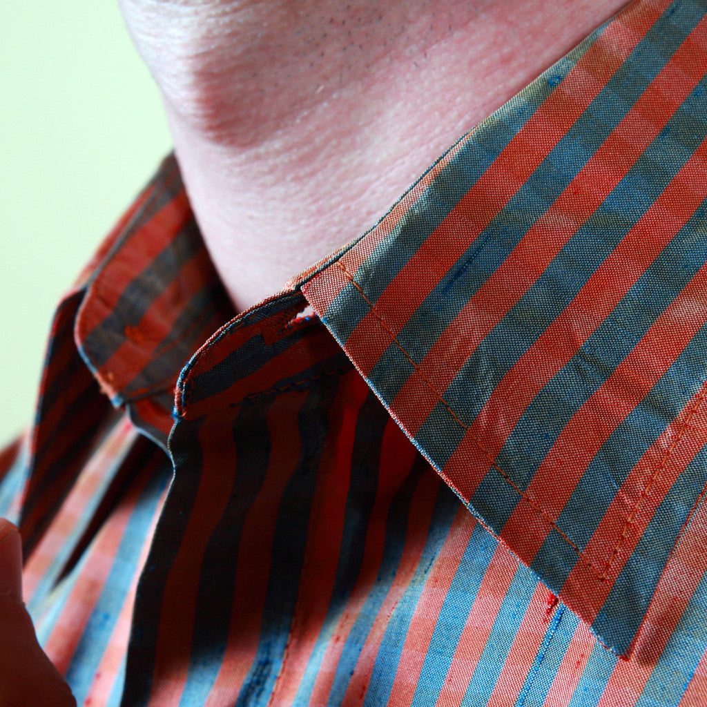 Jodhpur Orange and Grey Striped Mens Silk Shirt - Shubrah