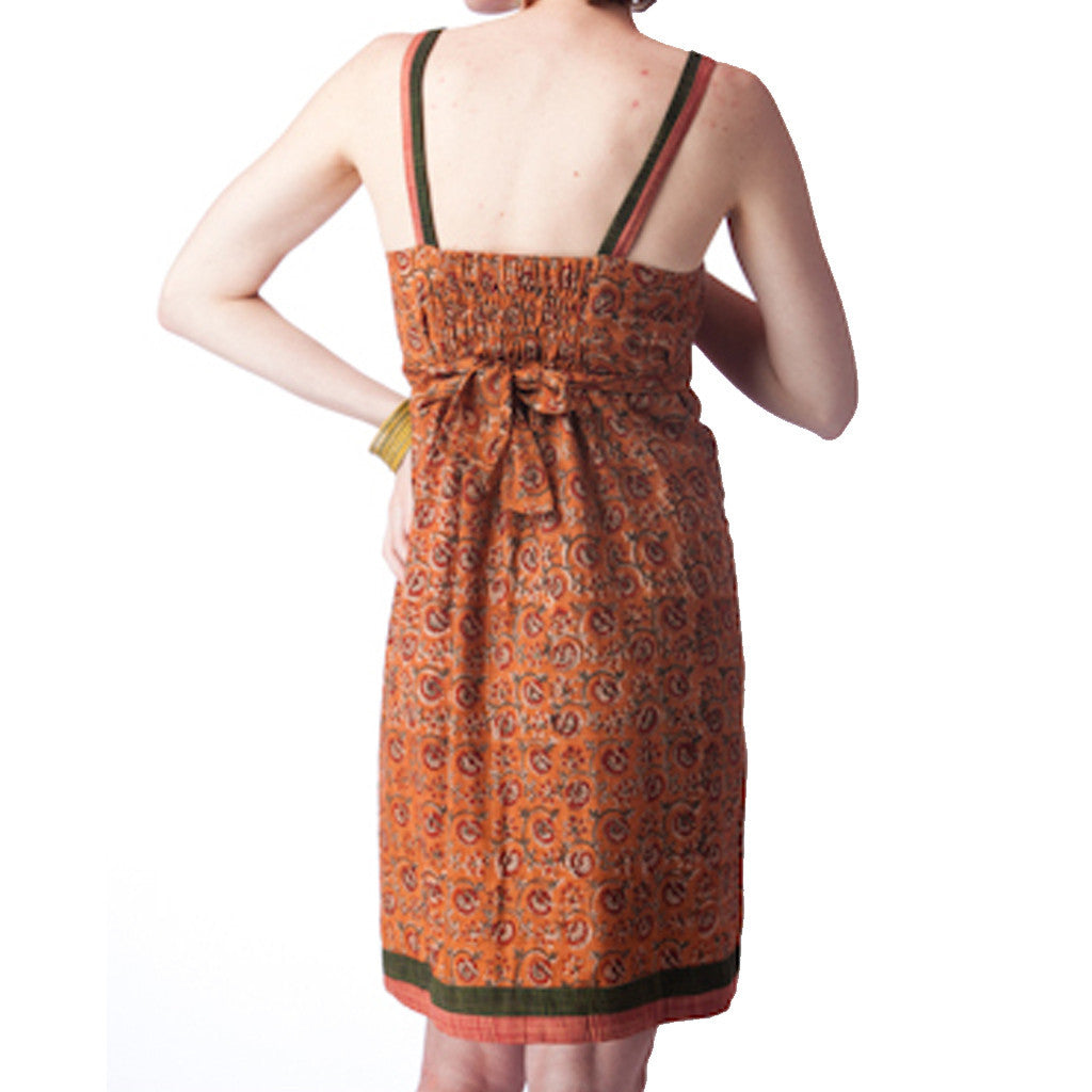 Kalamkari Upcycled Sari Cotton Summer Dress - Shubrah