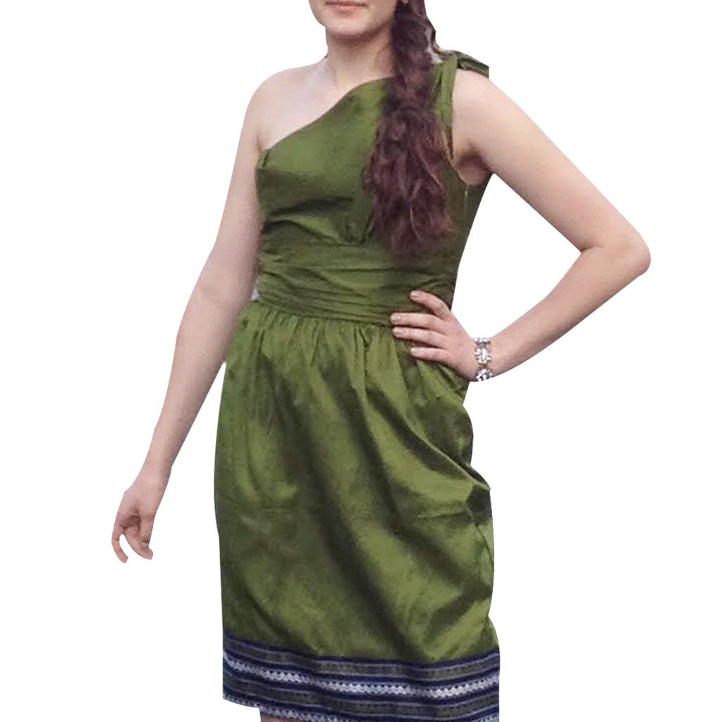 Olive Green and Blue Border Upcycled Silk Sari Dress - Shubrah