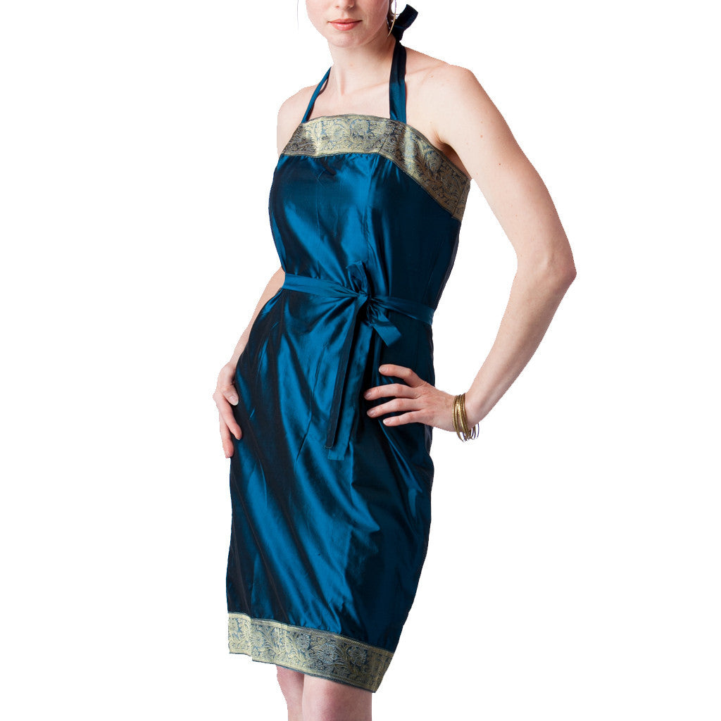Peacock Blue Silk Halter Bridesmaids Dress - Shubrah