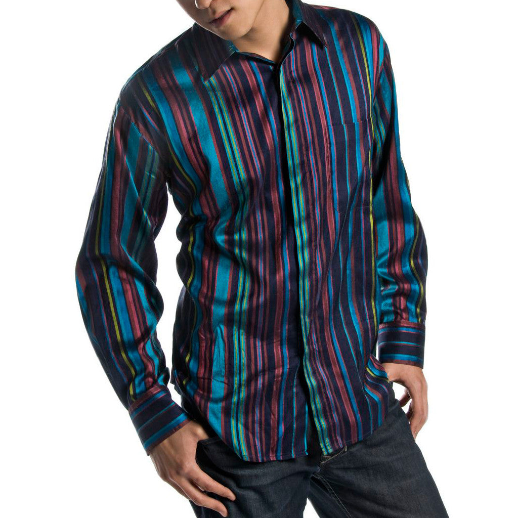739c96efd56a82 Peacock Striped Blue Silk Mens Shirt - Shubrah