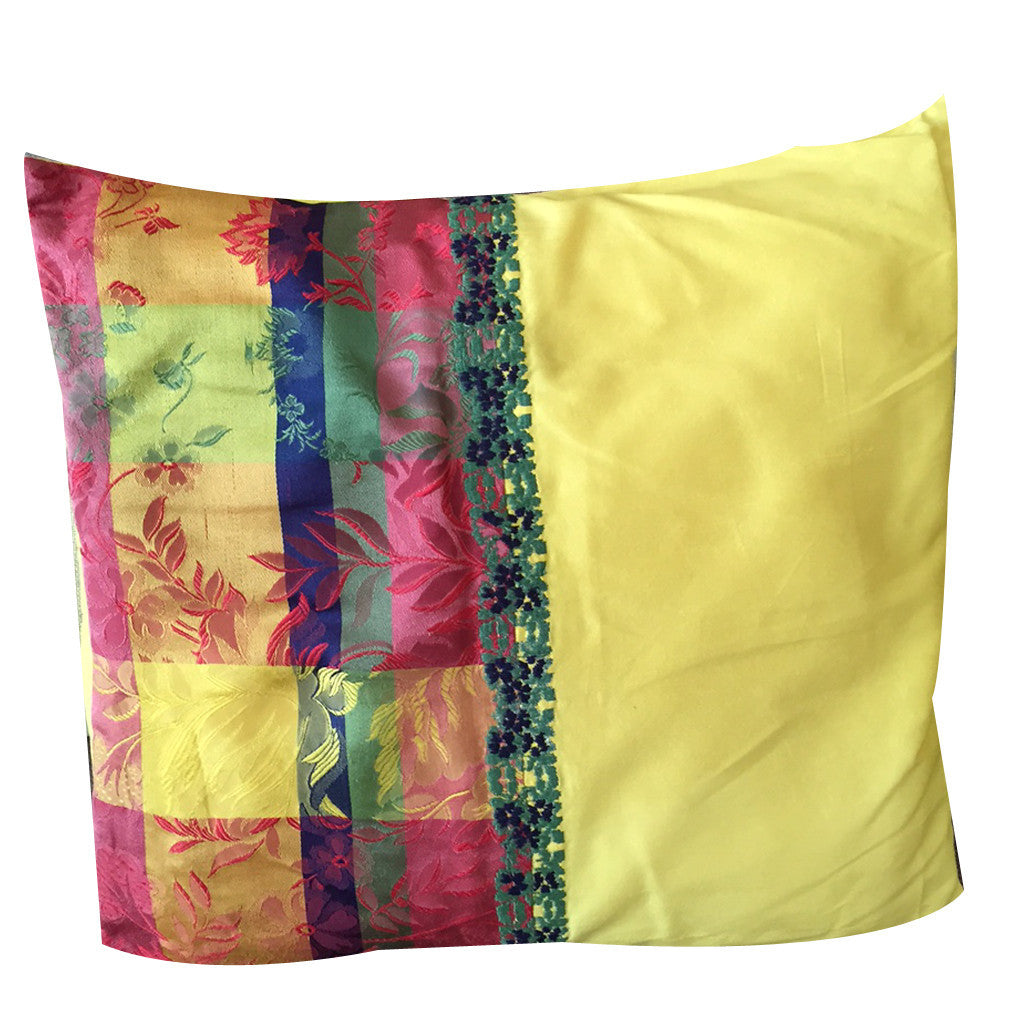 Peela phool Yellow Flower Embroidered Cushion with Filler - Shubrah