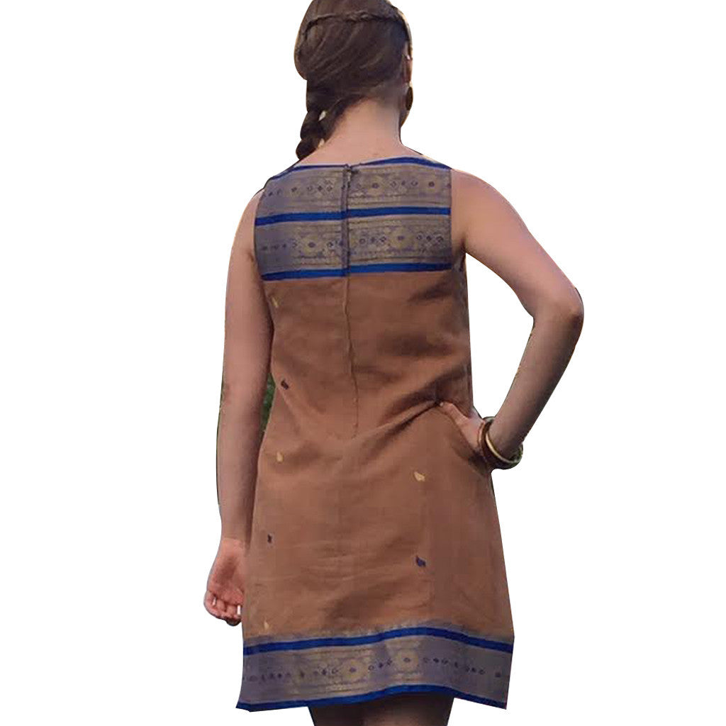 Rajasthan Royal Blue and Taupe Yoke Cotton Upcycled Sari Dress - Shubrah
