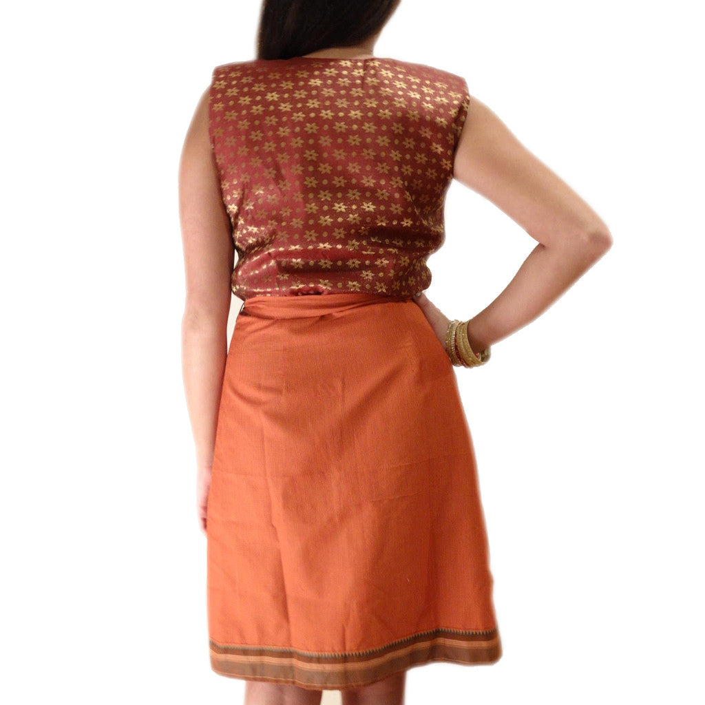Red Chilli Brocade Wrap Dress - Shubrah