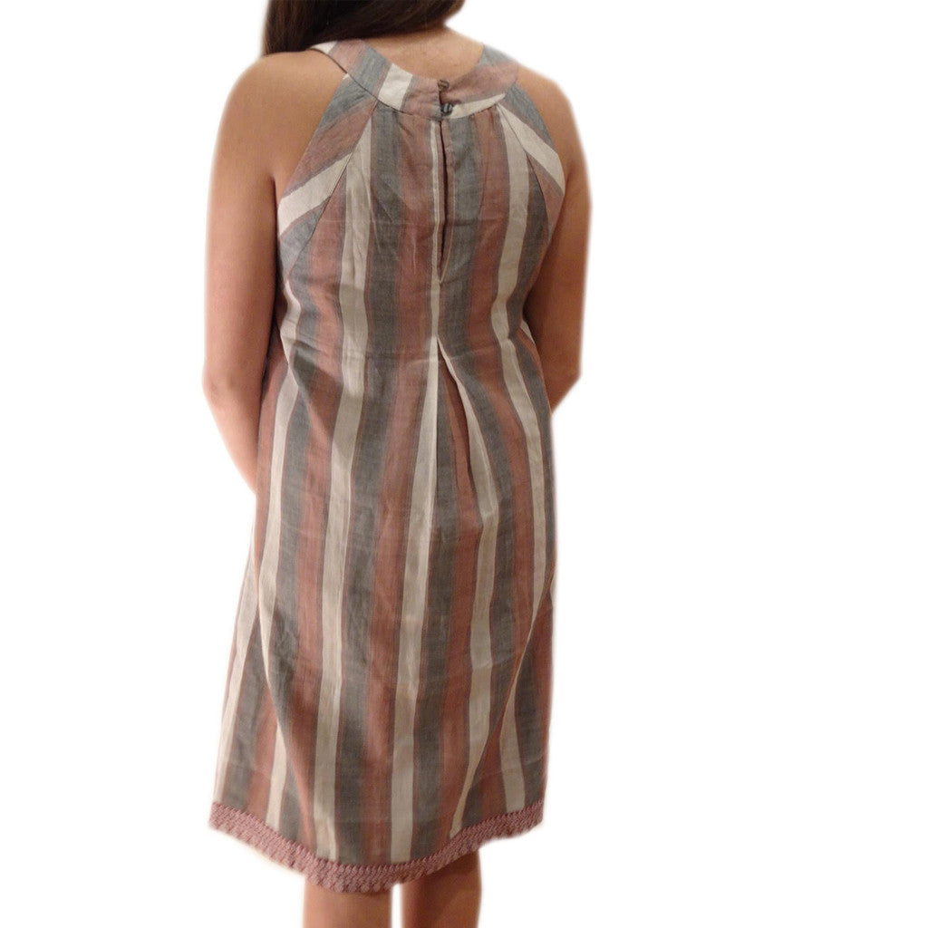 Sand Dune Stripe with Back Pleat Sleeveless Dress - Shubrah