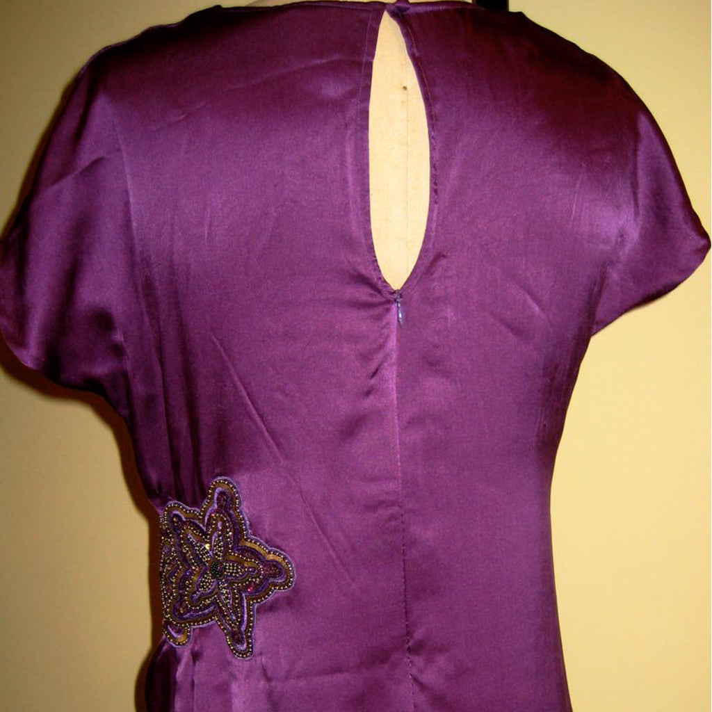 Spice Root Aubergine Cowl Neck Silk Dress - Shubrah