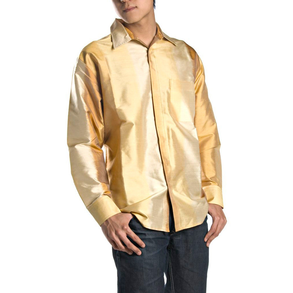 Surya Sun Colors Ikat Ombre Mens Silk Shirt - Shubrah