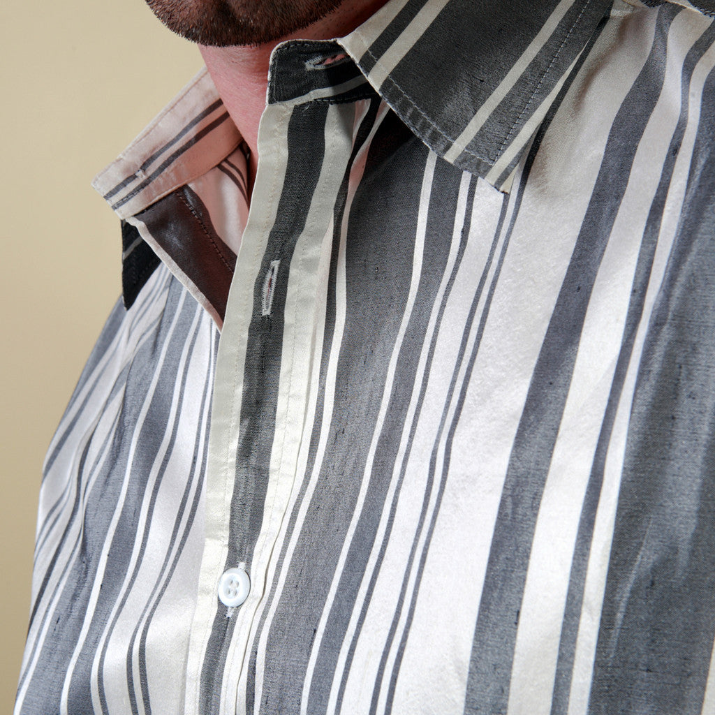 Taj Mahal White and Black Striped Mens Silk Shirt - Shubrah