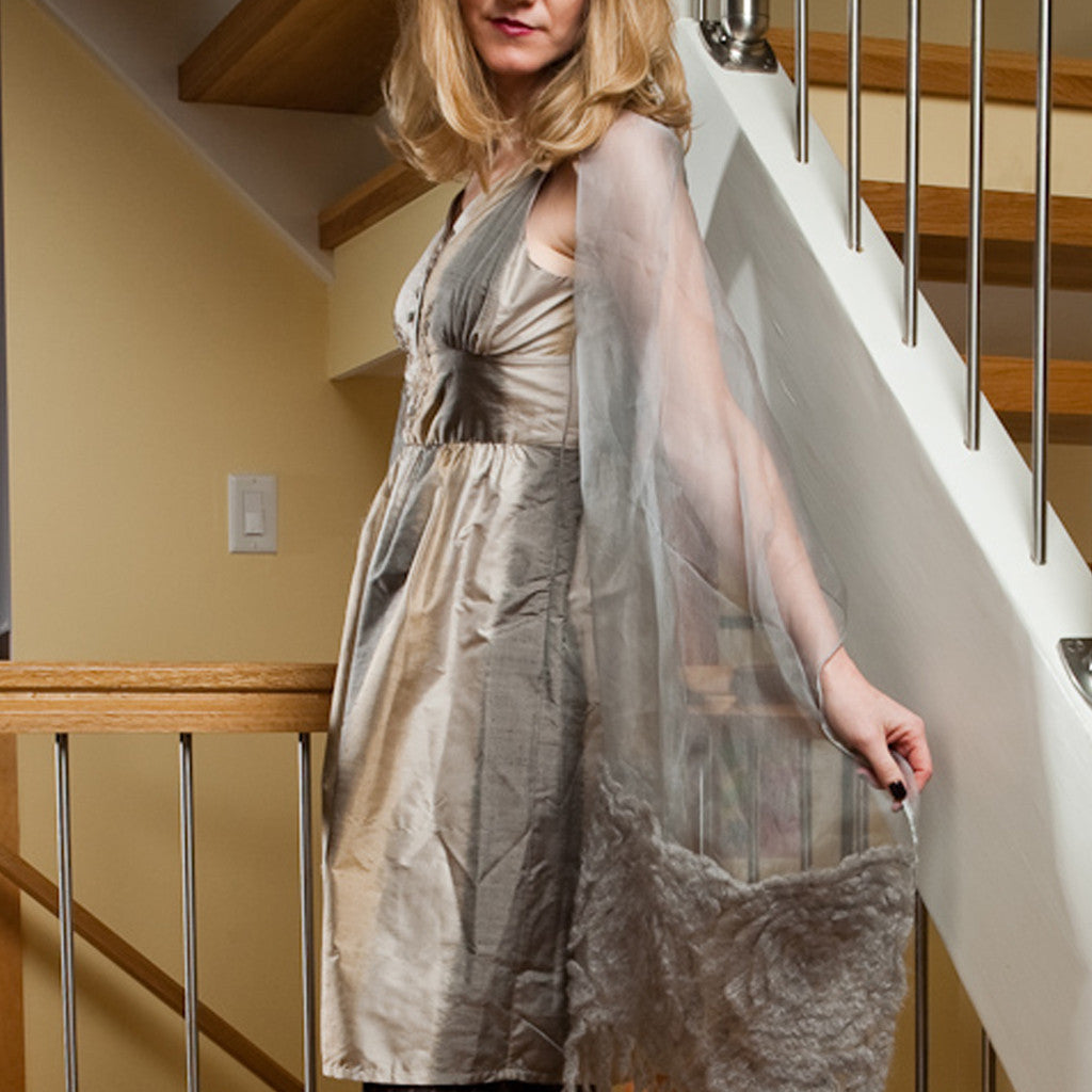 Taupe Grey Ombre Silk Embroidered Dress - Shubrah