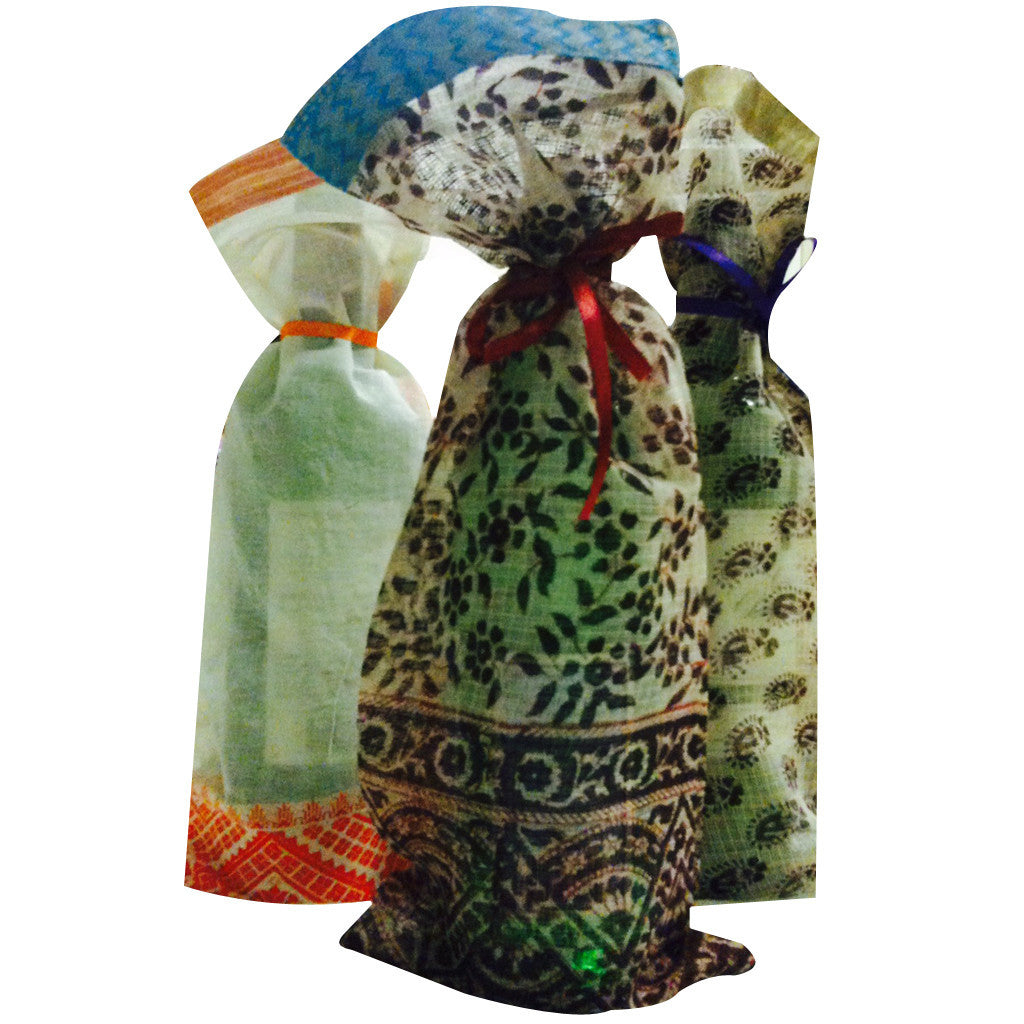 Wine bags Upcycled Sari Fabric - Shubrah