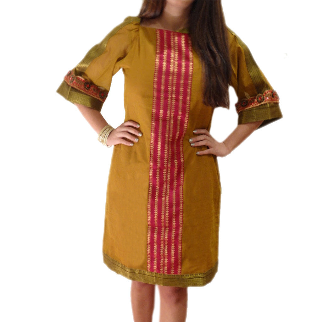 Bangalore Evening Boat Neck Silk Dress - Shubrah