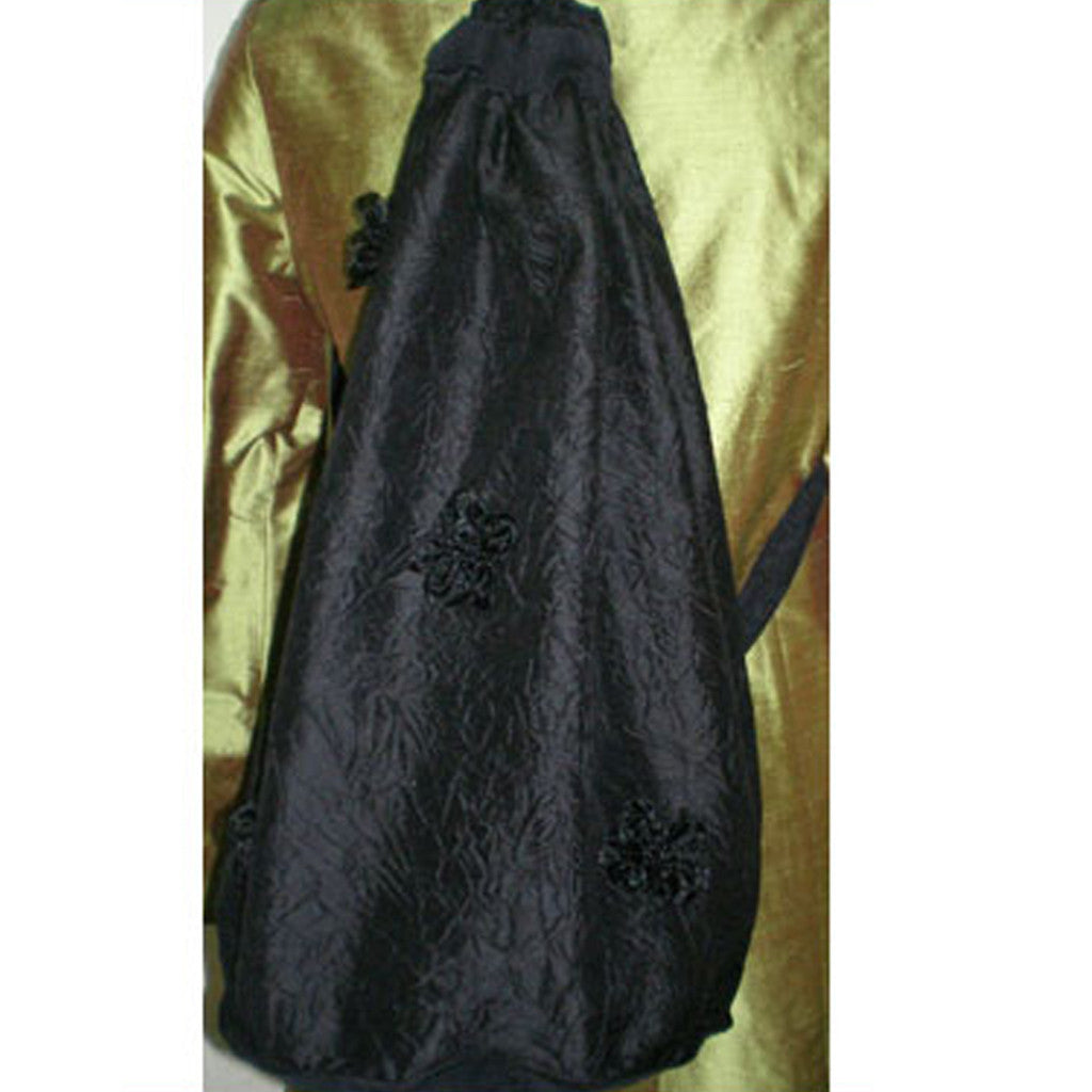 Black Flower Silk Backpack - Shubrah