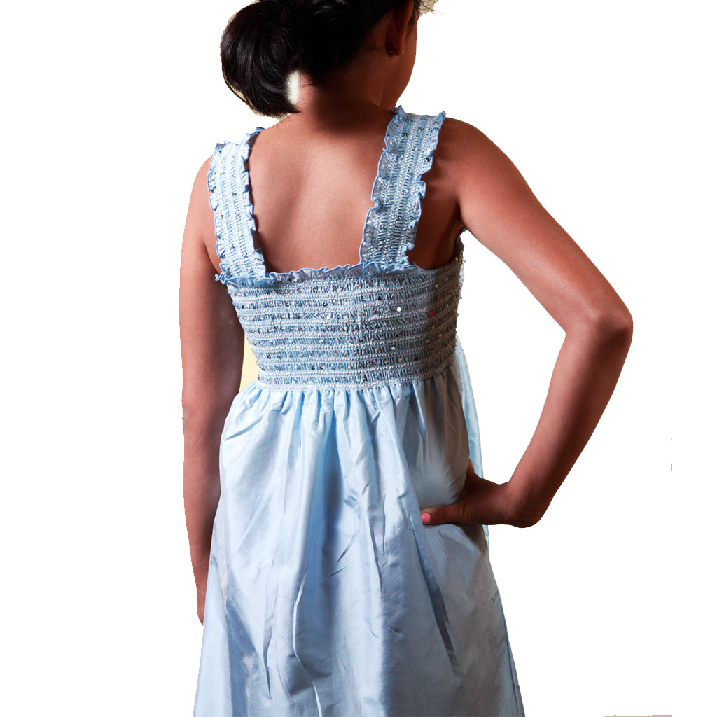 Neela Blue Silk Girls Party Dress - Shubrah