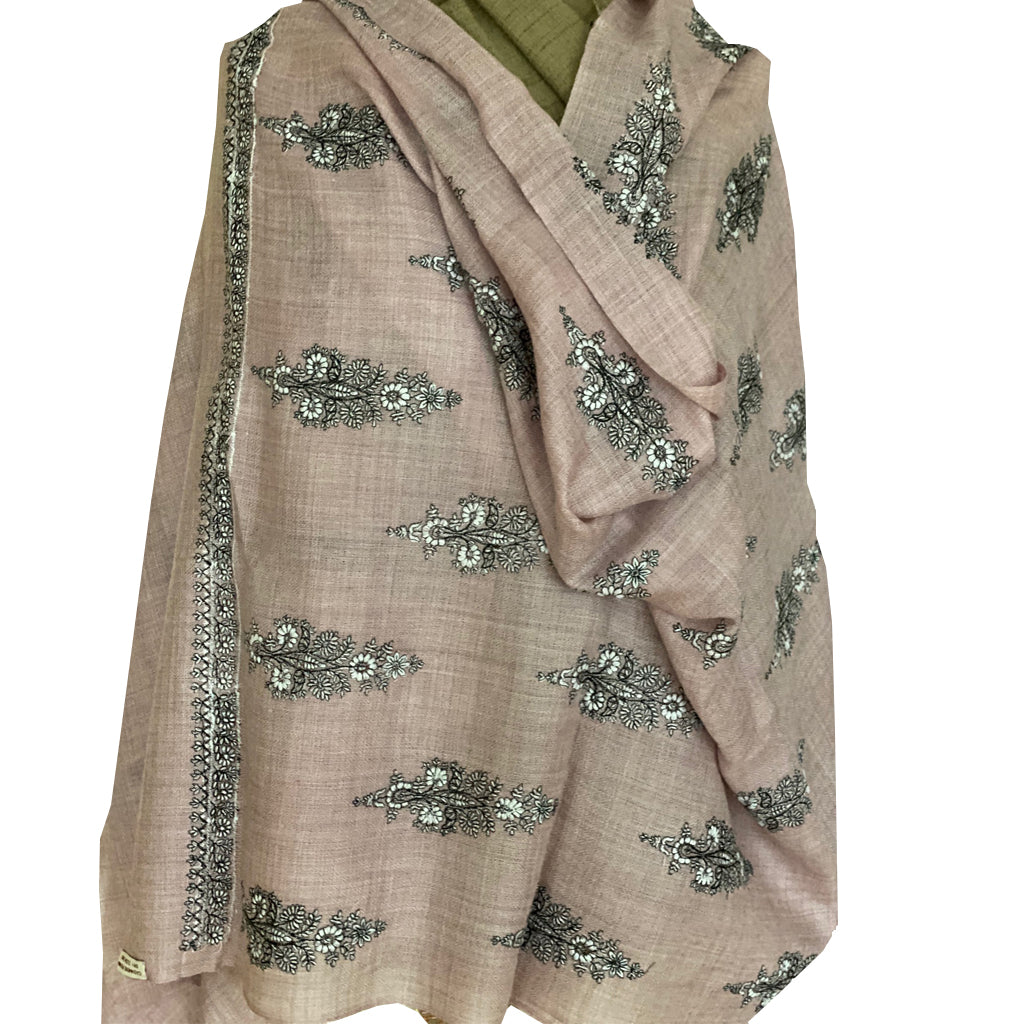Blush Phool Embroidered floral Pashmina Stole