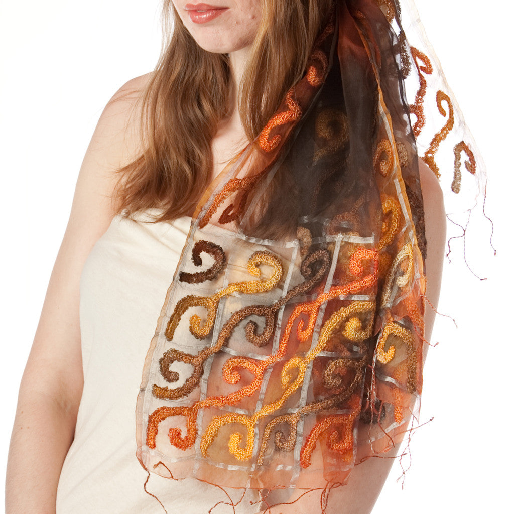 Bollywood Swirls Silk Scarf - Shubrah