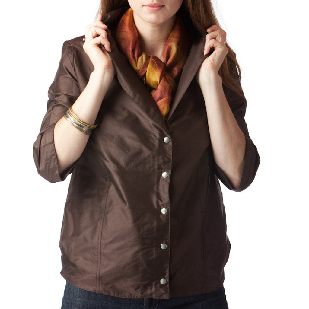 Bombay Brown Silk Bomber Jacket - Shubrah