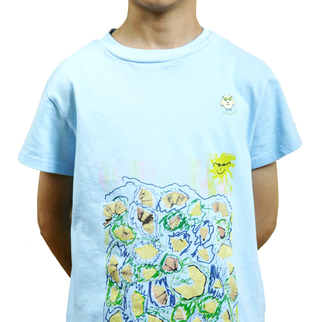 Blue pencil print Boys organic Tee - Shubrah