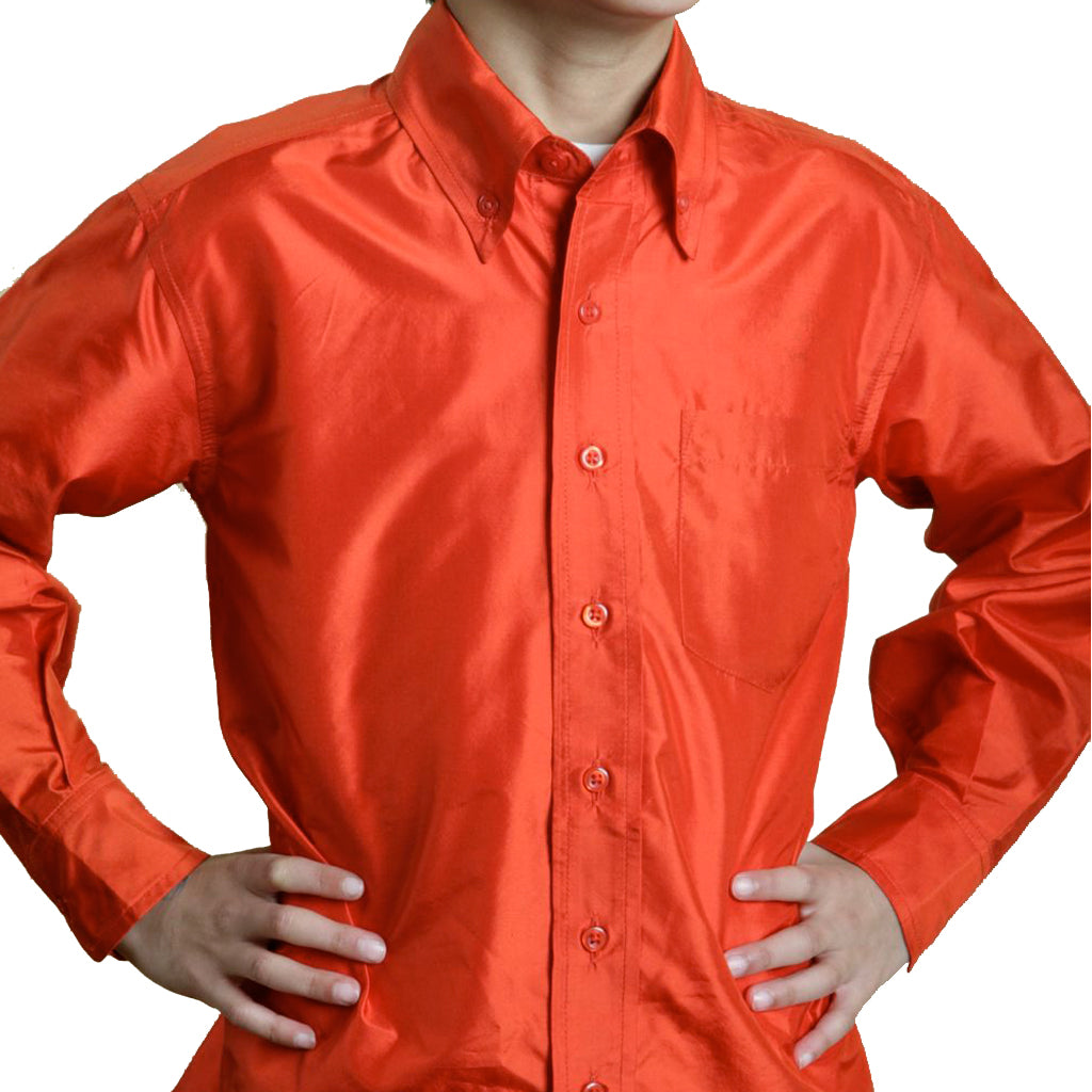 Jaipur Boys Red Silk Party Shirt - Shubrah