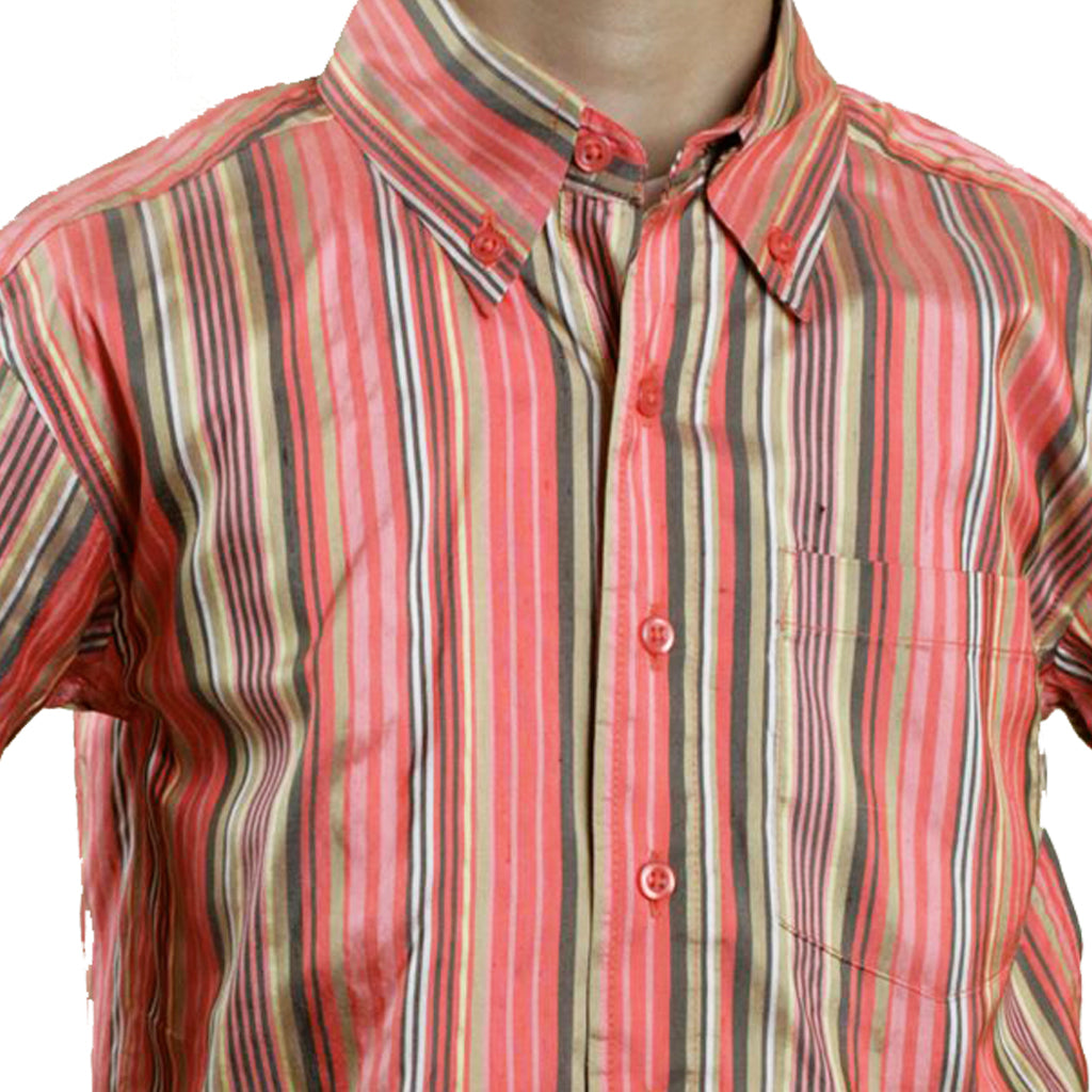 Jaipur Boys Salmon Stripe Silk Party Shirt - Shubrah