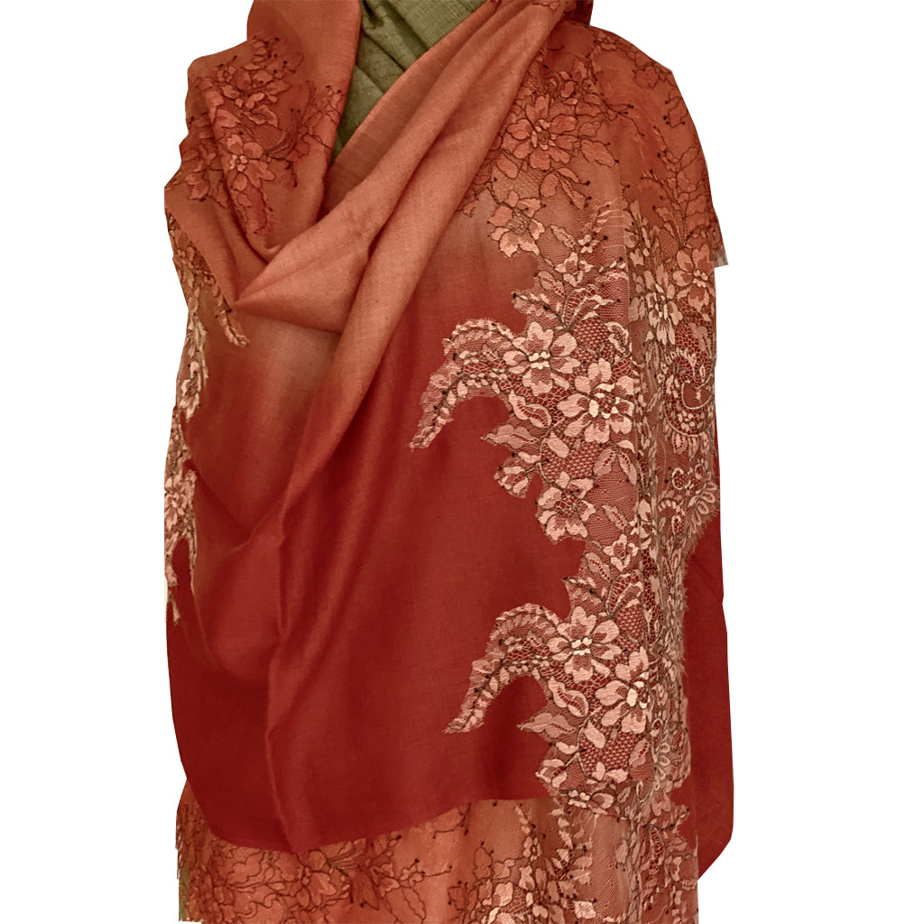 Burnt Sienna Lace trimmed Pashmina stole