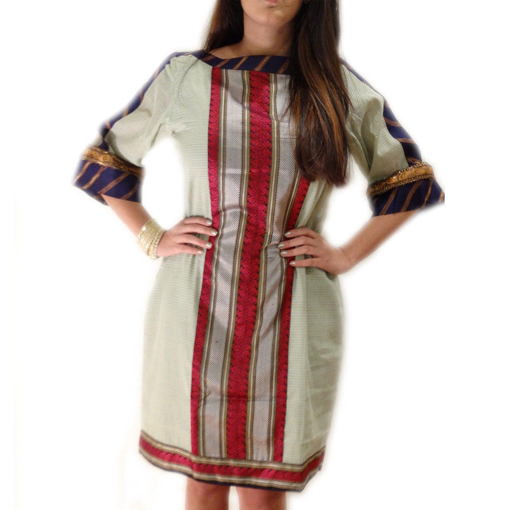 Calcutta Classic Boat Neck Silk Dress - Shubrah