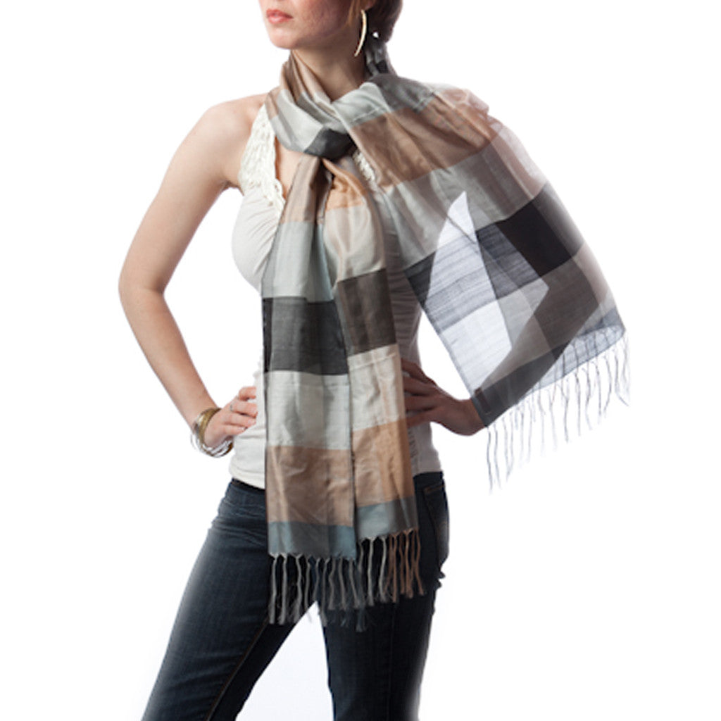 Chalo Office Plaid Silk Scarf - Shubrah