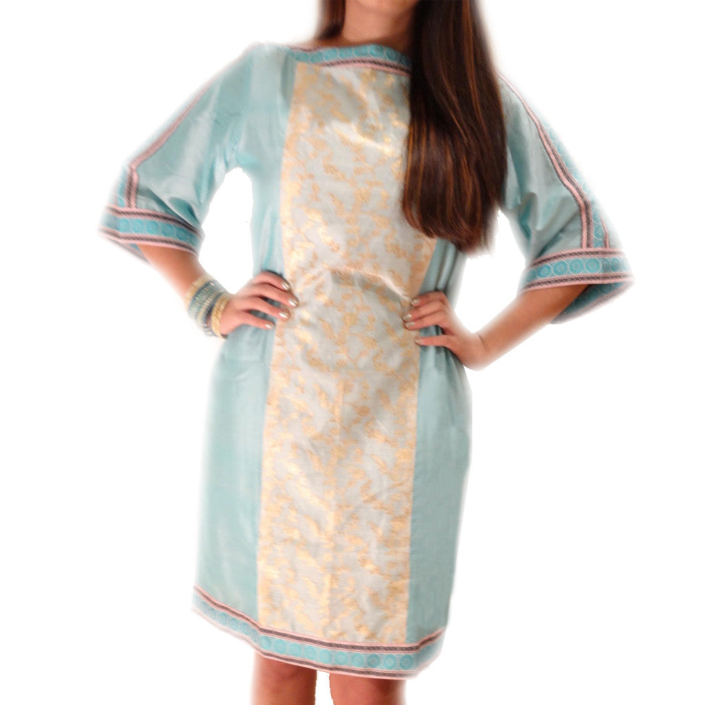 Chanderi Blue Silk Boat Neck Dress - Shubrah