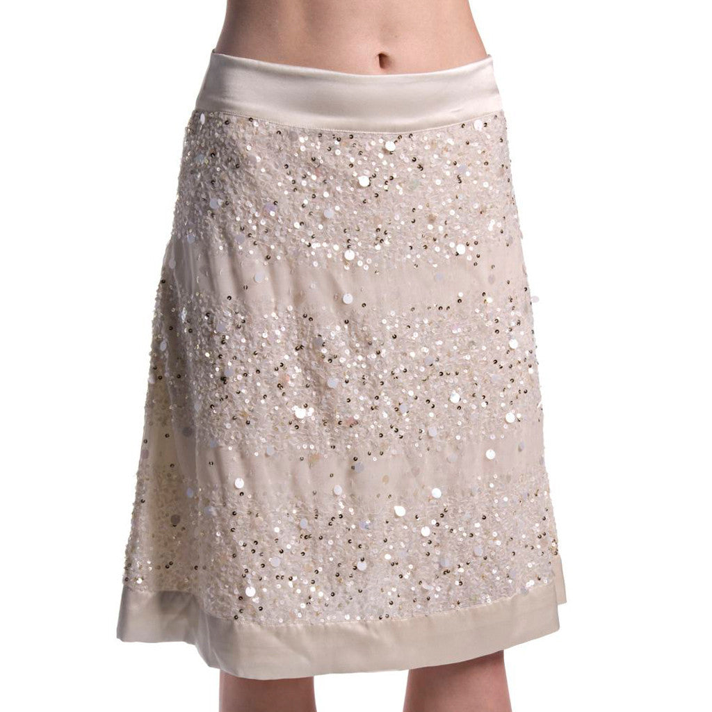 Chandni- Sequin Off White Silk Satin Skirt - Shubrah
