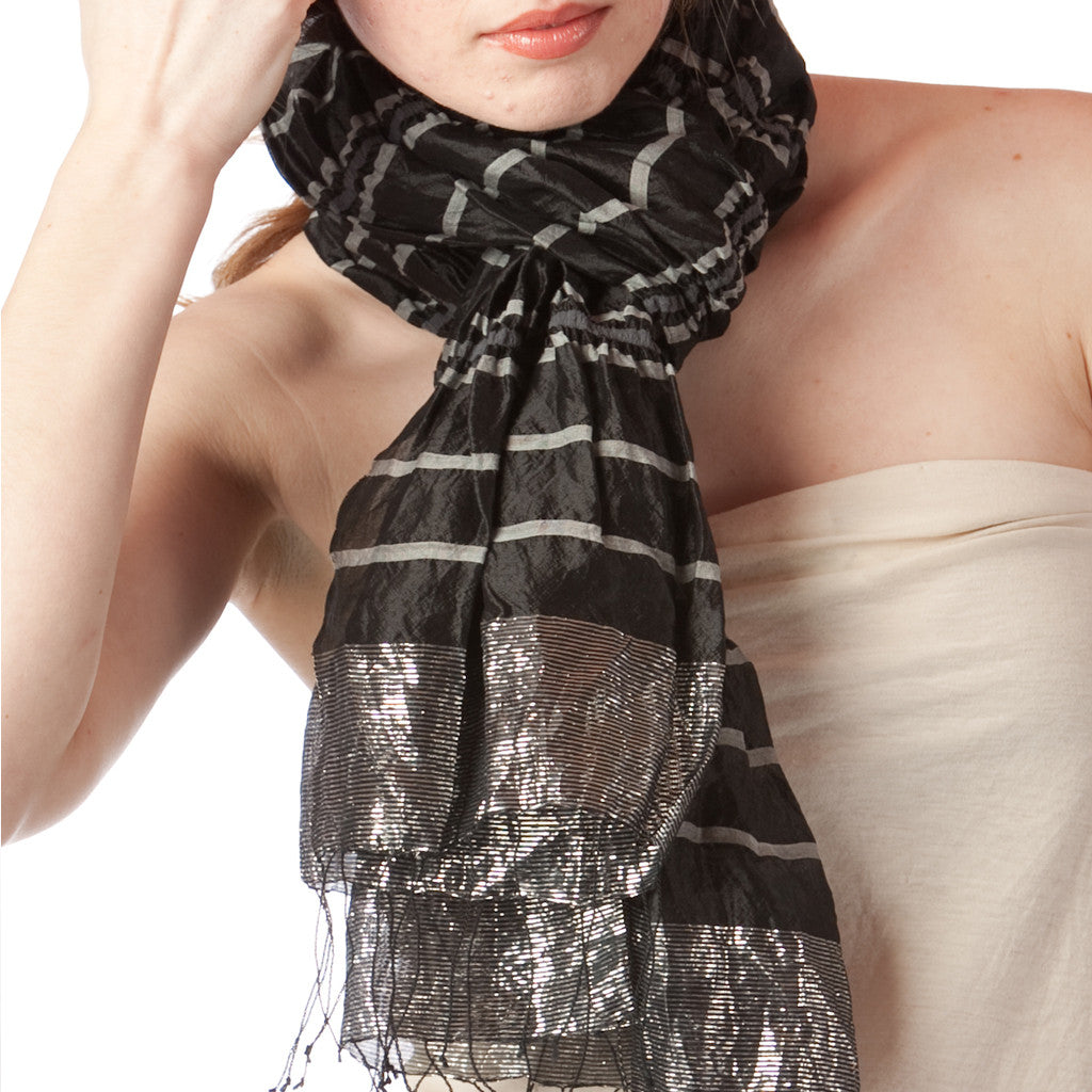 Chandra Black Lurex Silk Scarf - Shubrah