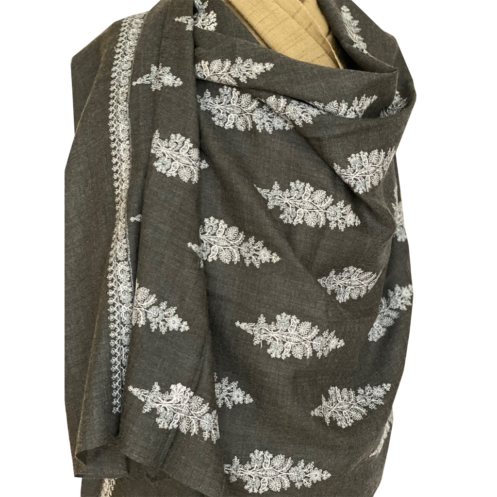Charcoal Phool Embroidered Floral Pashmina Stole