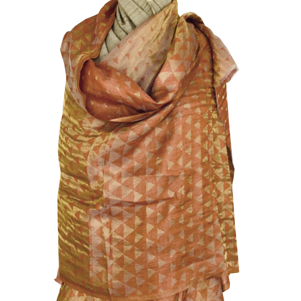 Clay and Gold Triangle Jacquard Woven Pashmina Stole