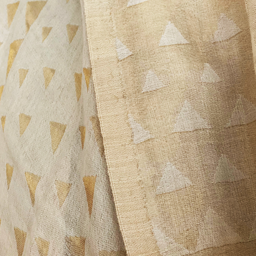 Cream and Gold Triangle Jacquard Woven Pashmina Stole