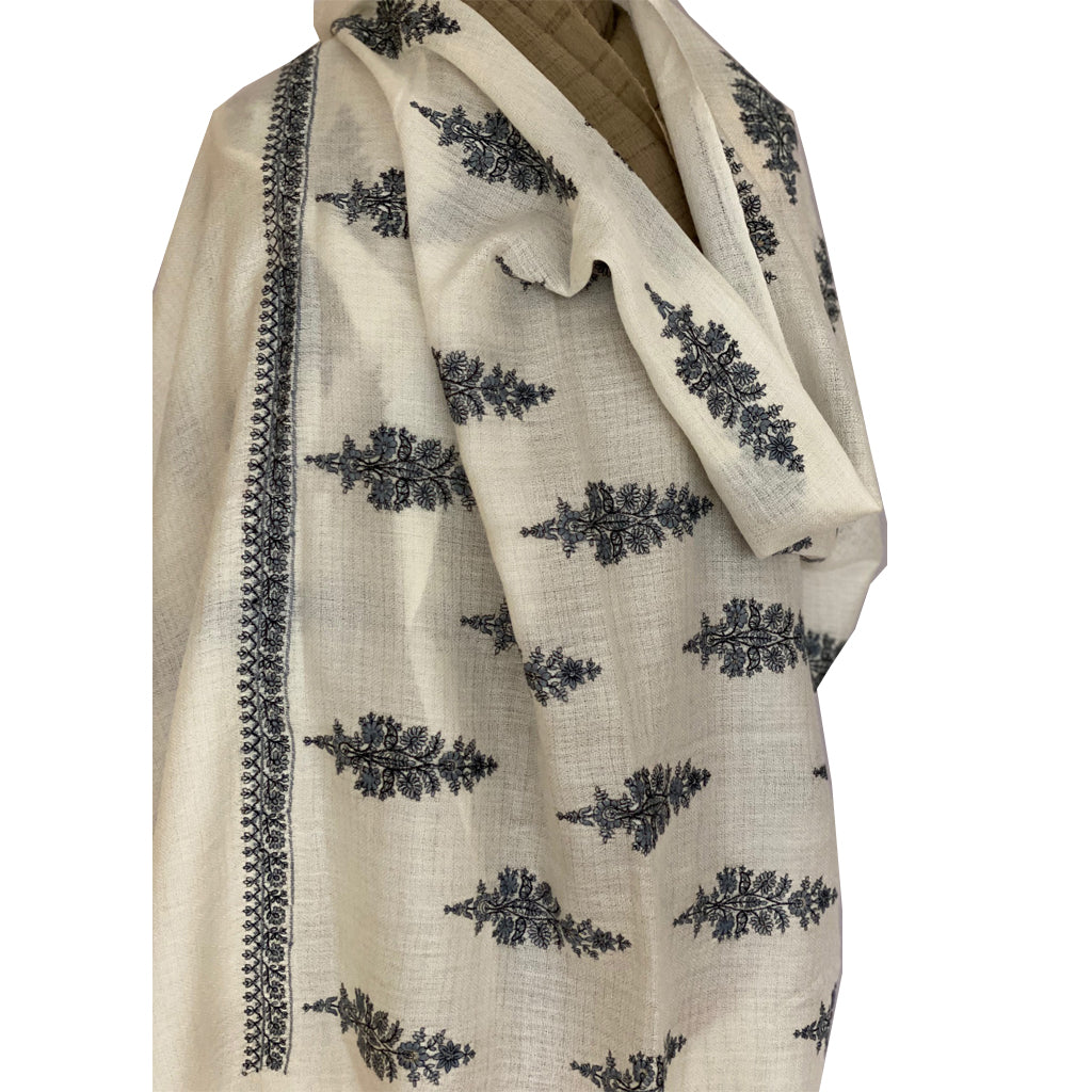 Cream Phool Embroidered Floral Pashmina Stole