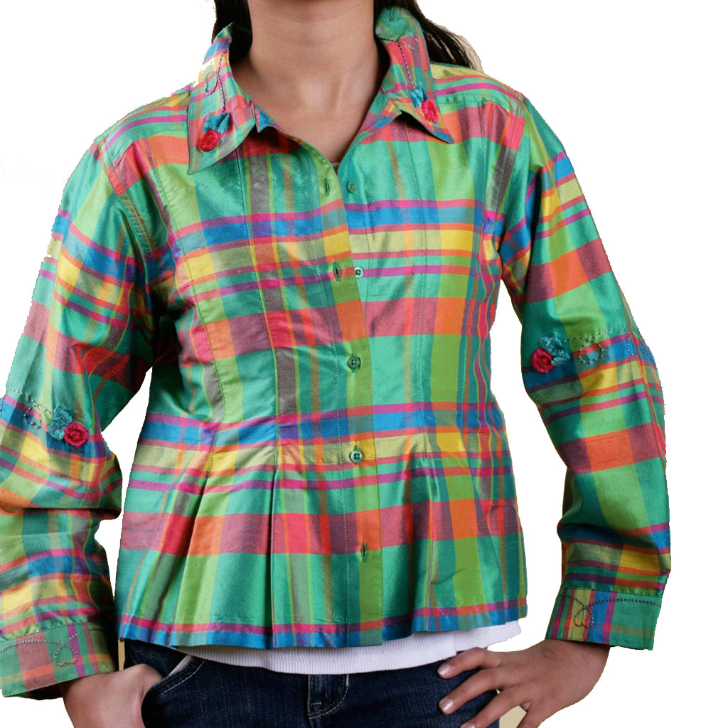 Festive Girls Green Plaid Silk Shirt - Shubrah