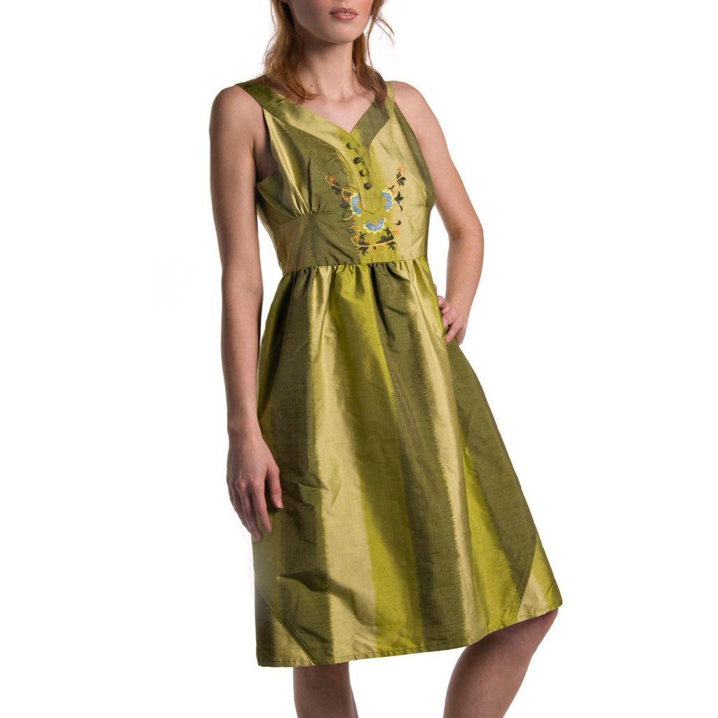 Garden Green Ombre Silk Embroidered Dress - Shubrah