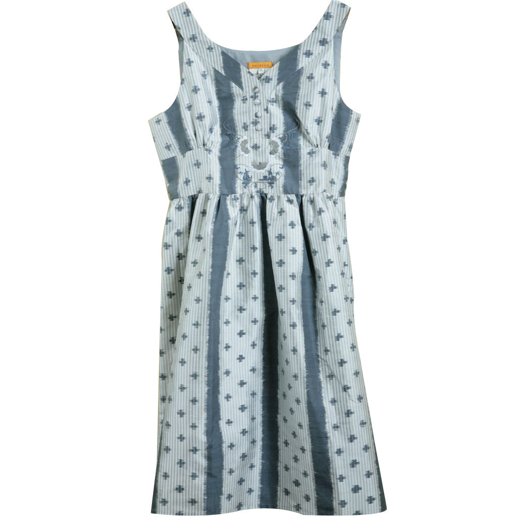 Grey Ombre Dotted Silk Embroidered Dress - Shubrah