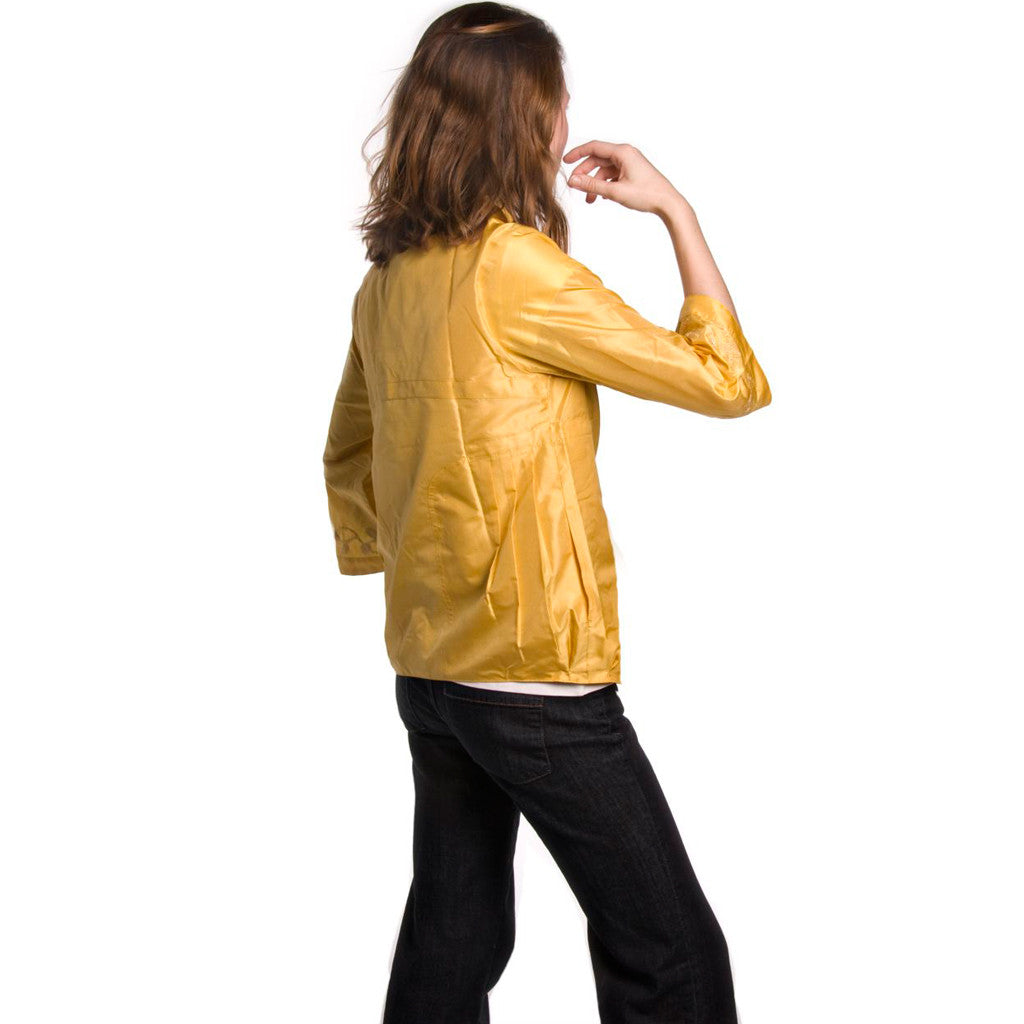 Haldi Yellow Jute Embroidered Jacket - Shubrah