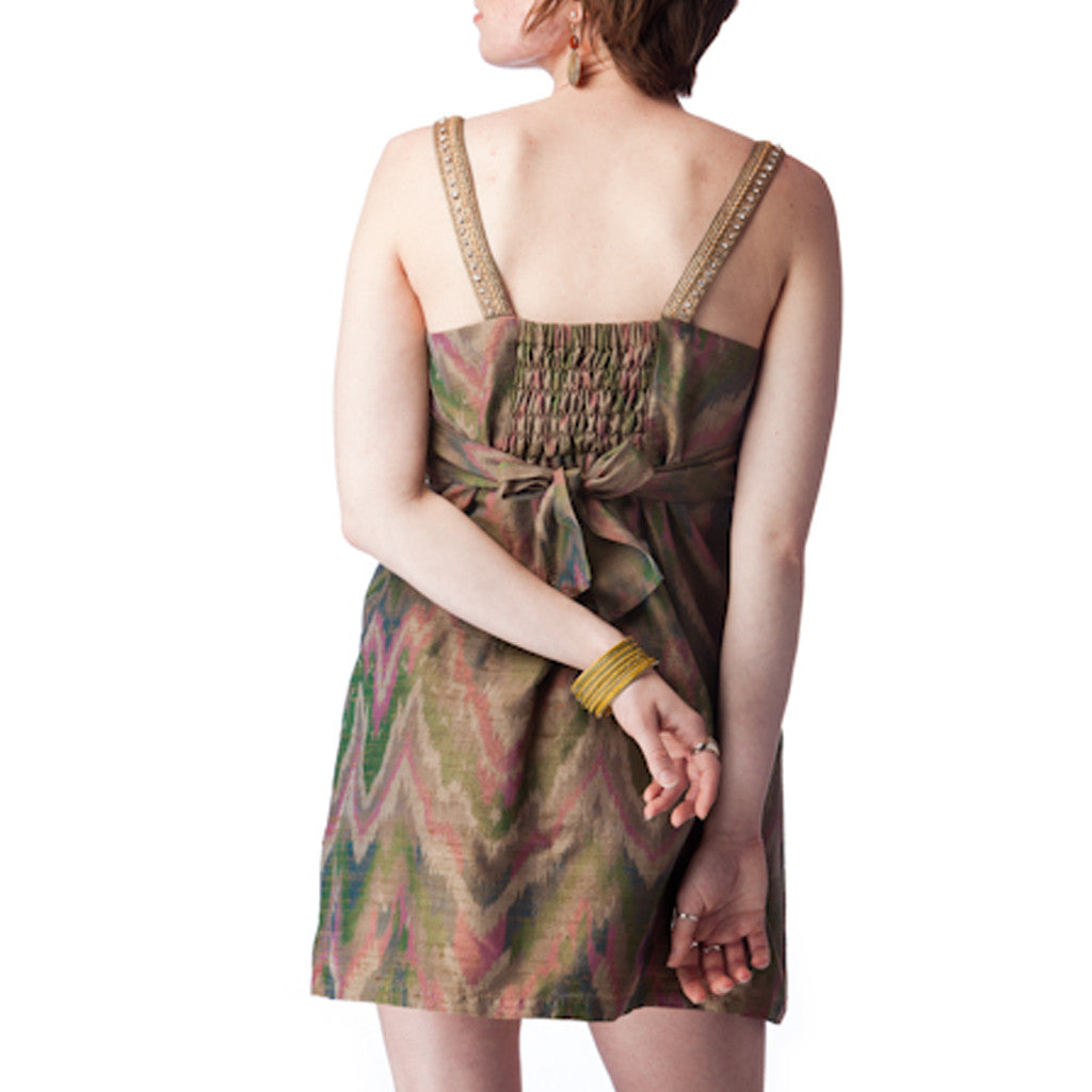 Ikat Silk Beaded Straps Olive Green Dress - Shubrah
