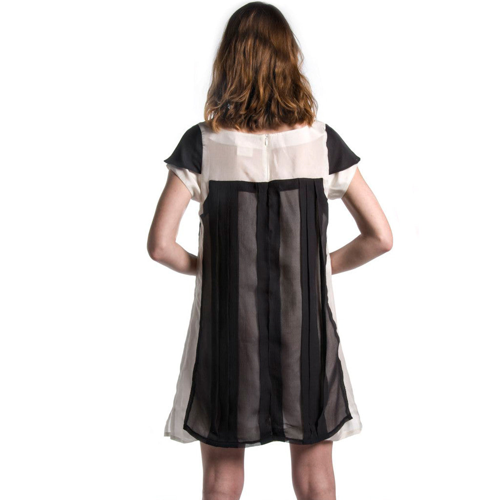 Indian Black and White Silk Pleated Chiffon Party Dress - Shubrah