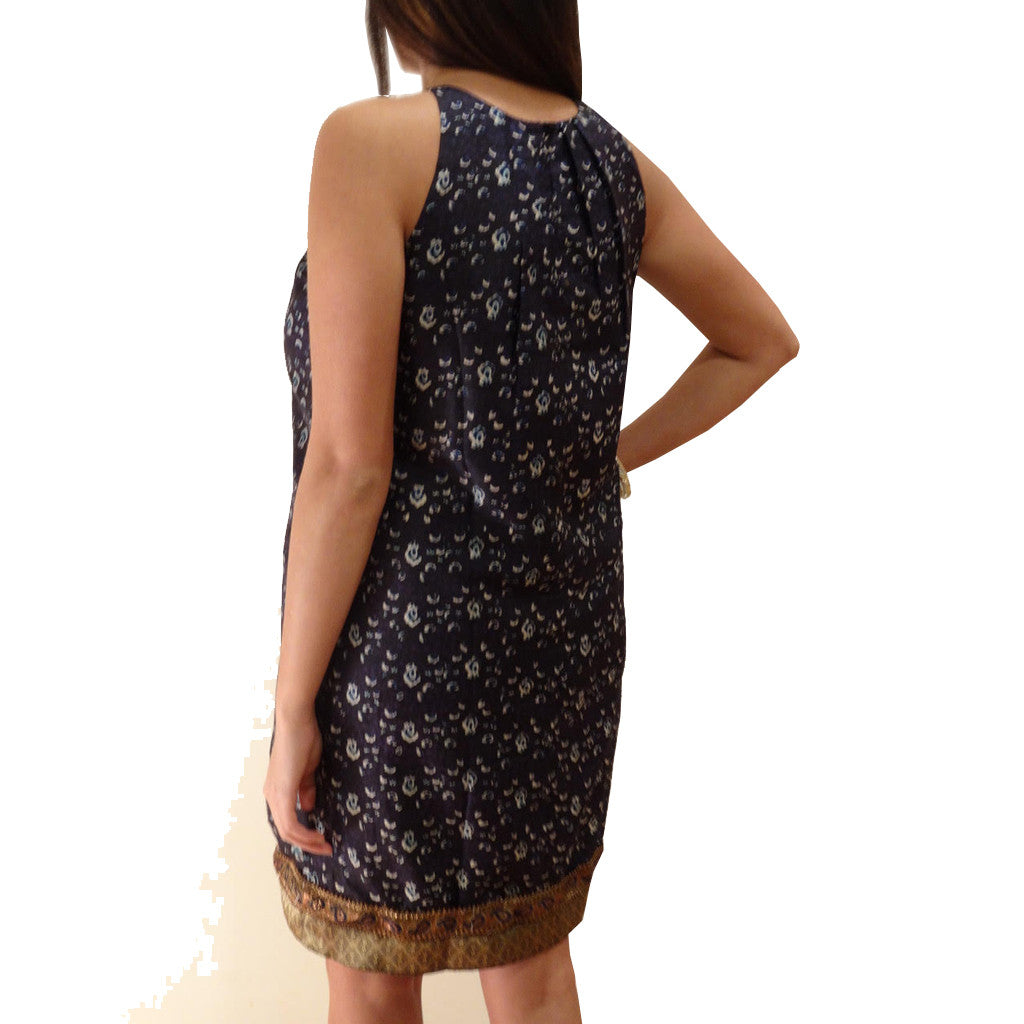 Indigo Zari Silk Print Sleeveless Dress - Shubrah